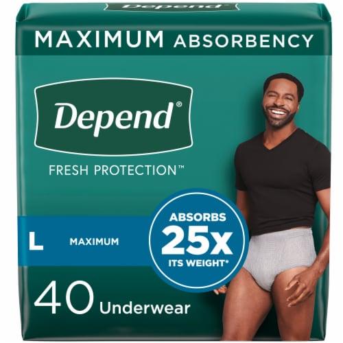 Depend Men FIT-FLEX Maximum Absorbency Large Incontinence Underwear for Men Perspective: front