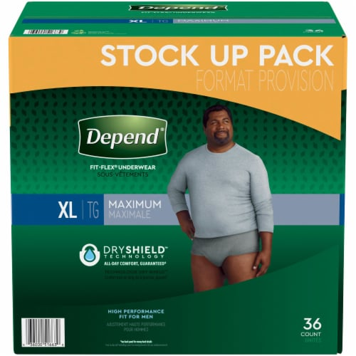 Depend Fit-Flex Maximum Absorbency X-Large Men's Incontinence Underwear Perspective: front