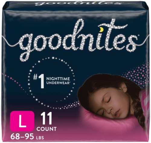 GoodNites Youth Size Large Girls' Nighttime Underwear Perspective: front