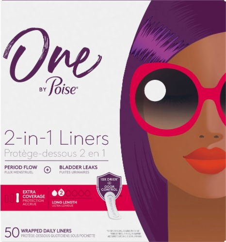 One by Poise 2-in-1 Extra Coverage Long Length Daily Liners Perspective: front