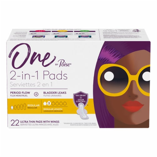 One by Poise 2-in-1 Regular Length Ultra Thin Pads with Wings Perspective: front