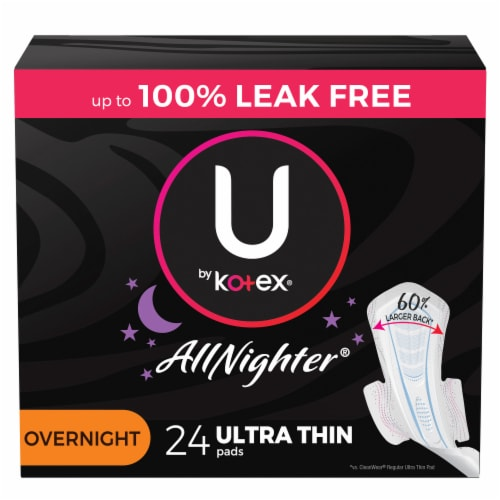 U by Kotex AllNighter Ultra Thin Overnight Unscented Pads with Wings Perspective: front