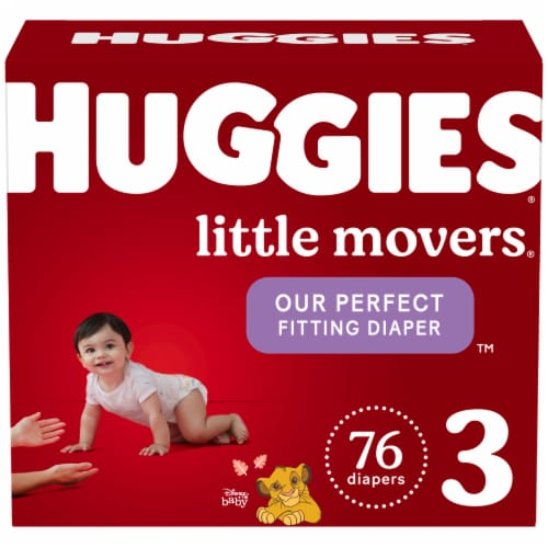 Huggies Little Movers Size 3 Baby Diapers Perspective: front