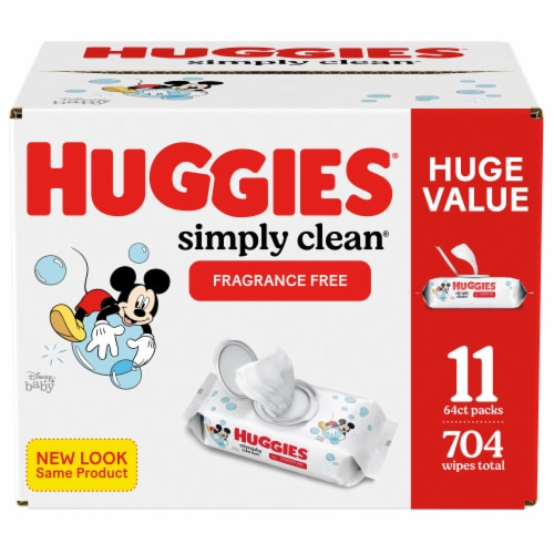 Huggies Simply Clean Fragrance Free Baby Wipes Flip-Top Packs Perspective: front