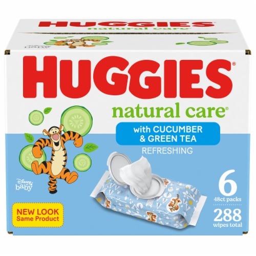 Huggies Natural Care Cucumber & Green Tea Wipes Perspective: front