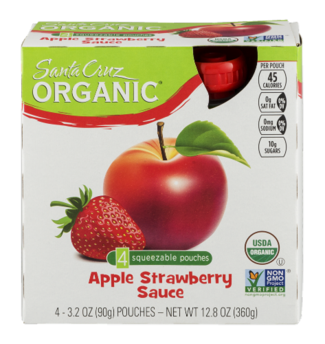 Santa Cruz Organic Strawberry Apple Sauce Pouches 4 Count Perspective: front