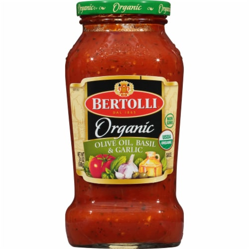 Bertolli Organic Olive Oil Basil & Garlic Pasta Sauce Perspective: front