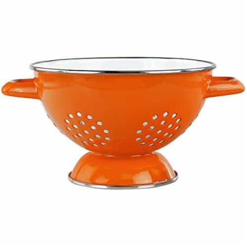Reston Lloyd 08650 1.5 qt. Enamel Colander, Orange Perspective: front