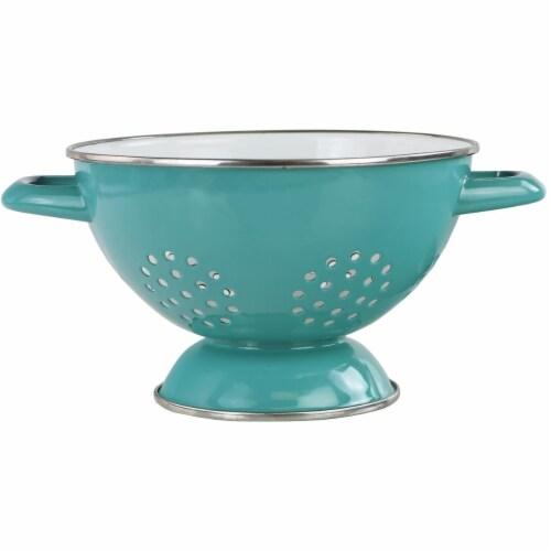 Reston Lloyd 08672 1.5 qt. Enamel Colander, Turquoise Perspective: front