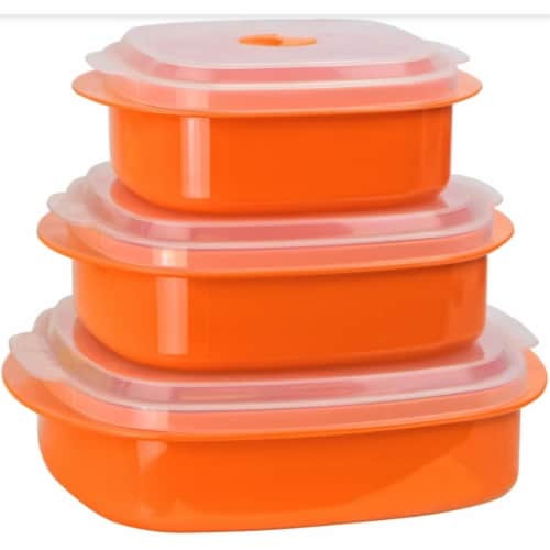 Reston Lloyd Orange - Microwave Steamer Set Perspective: front