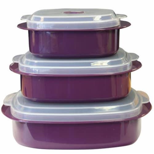 Reston Lloyd Calypso Basics 6 Piece Microwave Cookware-Storage Set - Plum Perspective: front