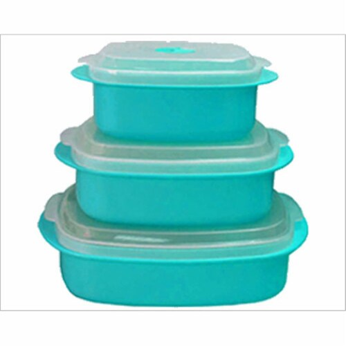 Reston Lloyd Turquoise - Microwave Steamer Set Perspective: front