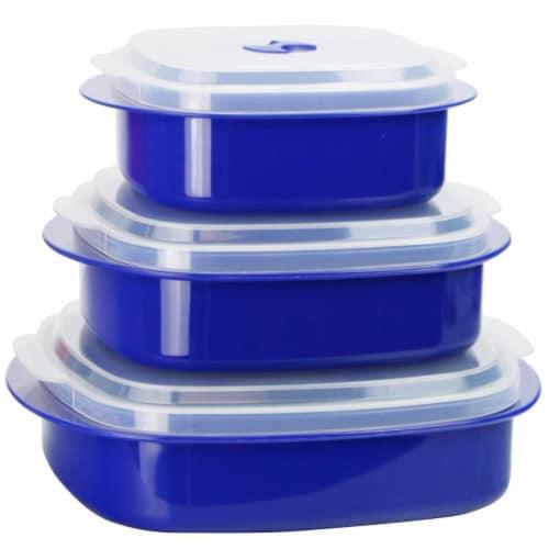 Reston Lloyd Microwave Cookware & Storage Set - Indigo, 6 Piece Perspective: front