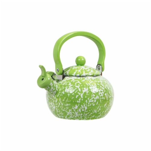 Reston Lloyd Harvest Whistling Teakettle, Lime Marble Perspective: front
