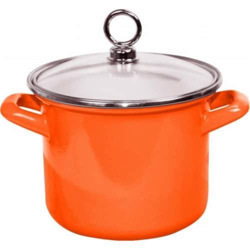 Reston Lloyd Enamel Stock Pot With Glass Lid, Orange - 1.5 qt. Perspective: front