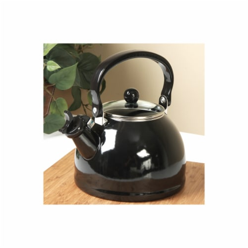 Reston Lloyd Black - Whistling Tea Kettle with Glass Lid Perspective: front