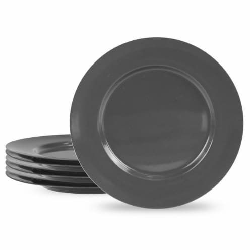 Reston Lloyd 71110 Melamine Dinner Plate Set, Charcoal - 6 Piece Perspective: front