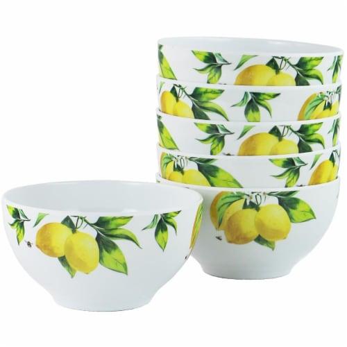 Reston Lloyd 73419 Melamine Bowl Set, Fresh Lemons - 6 Piece Perspective: front