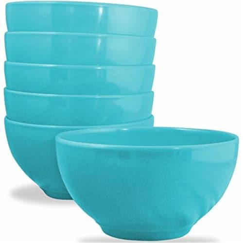 Reston Lloyd 73702R Set Calypso Basics Melamine Bowl - Turquoise, 6 Piece Perspective: front