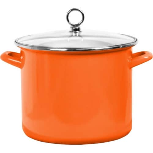Reston Lloyd Enamel Stock Pot With Glass Lid, Orange - 8 qt. Perspective: front