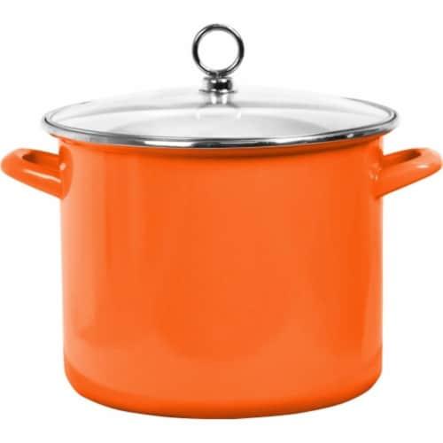 Reston Lloyd Enamel Stock Pot With Glass Lid, Orange - 8 qt. Perspective: front