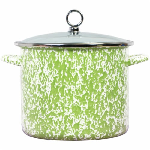 Reston Lloyd 8 qt. Stock Pot, Lime Marble Perspective: front