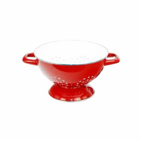 Reston Lloyd 80660 3 qt. Calypso Basics Enamel on Steel Colander, Red Perspective: front
