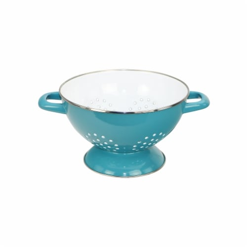 Reston Lloyd 80672 3 qt. Calypso Basics Enamel on Steel Colander, Turquoise Perspective: front