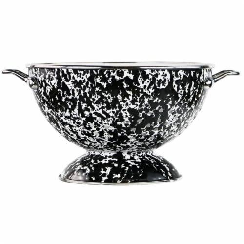 Reston Lloyd 80710 3 qt. Enamel Colander, Black Marble Perspective: front