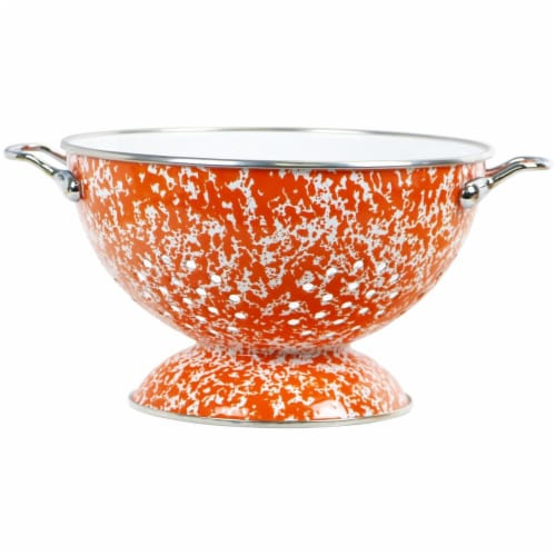 Reston Lloyd 80750 3 qt. Enamel Colander, Orange Marble Perspective: front
