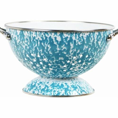Reston Lloyd 80772 3.qt. Enamel Colander, Turquoise Marble Perspective: front