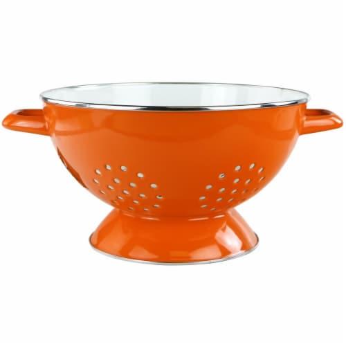Reston Lloyd 88650 5 qt. Enamel Colander, Orange Perspective: front