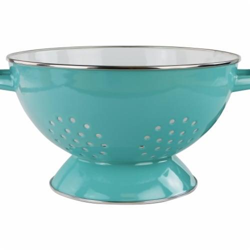 Reston Lloyd 88672 5 qt. Enamel Colander, Turquoise Perspective: front