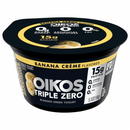 Oikos Triple Zero Banana Creme Blended Greek Yogurt Perspective: front