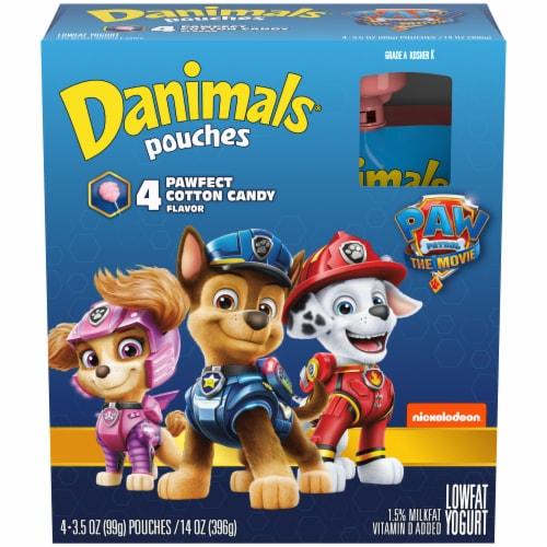 Danimals Squeezables Paw Patrol Cotton Candy Flavor Lowfat Yogurt Pouches Perspective: front