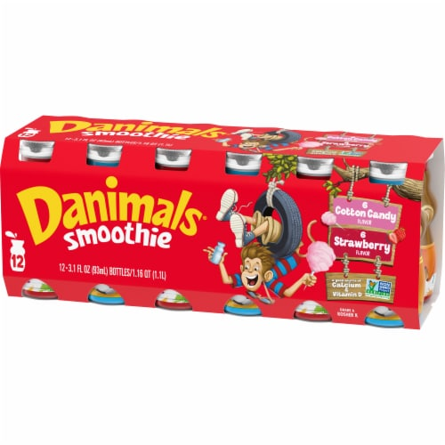 Danimals Strawberry Explosion & Cotton Candy Yogurt Smoothie Drinks Variety Pack Perspective: front