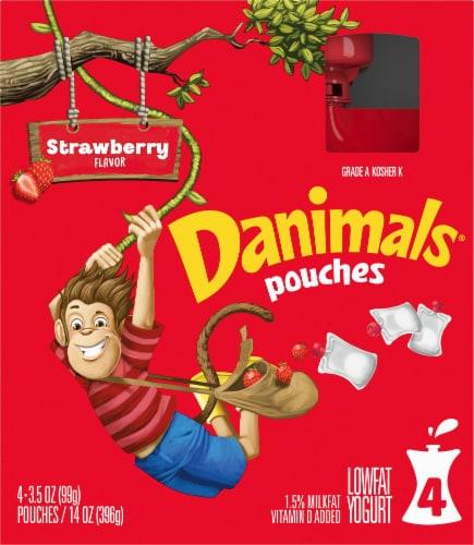 Danimals Strawberry Lowfat Yogurt Pouches Perspective: front
