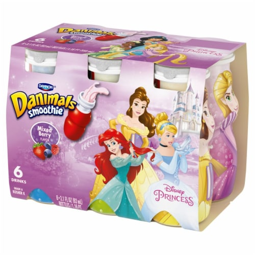 Dannon Danimals Disney Princess Mixed Berry Smoothies 6 Count Perspective: front