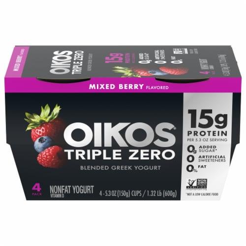 Oikos Triple Zero Mixed Berry Blended Greek Yogurt Perspective: front