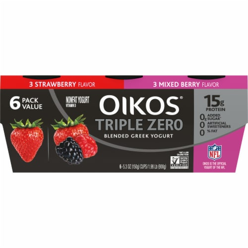 Oikos Triple Zero Strawberry & Mixed Berry Blended Greek Yogurt Perspective: front