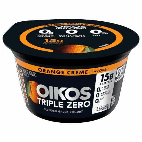 Oikos Triple Zero Orange Creme Blended Greek Yogurt Perspective: front