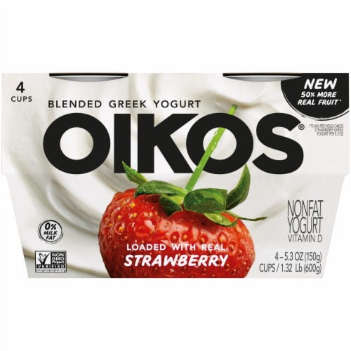Oikos Strawberry Blended Greek Yogurt Perspective: front