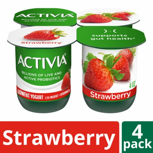 Activia Strawberry Lowfat Probiotic Yogurt (4 Pack) Perspective: front