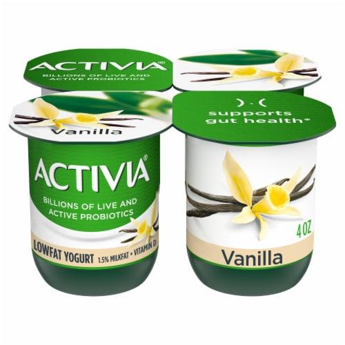 Activia Vanilla Probiotic Lowfat Yogurt Perspective: front