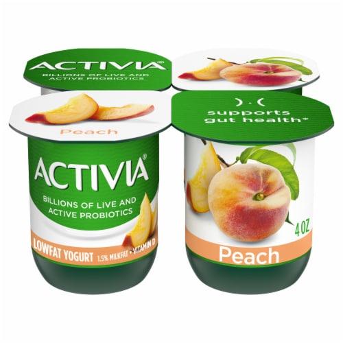 Activia Peach Lowfat Probiotic Yogurt (4 Pack) Perspective: front