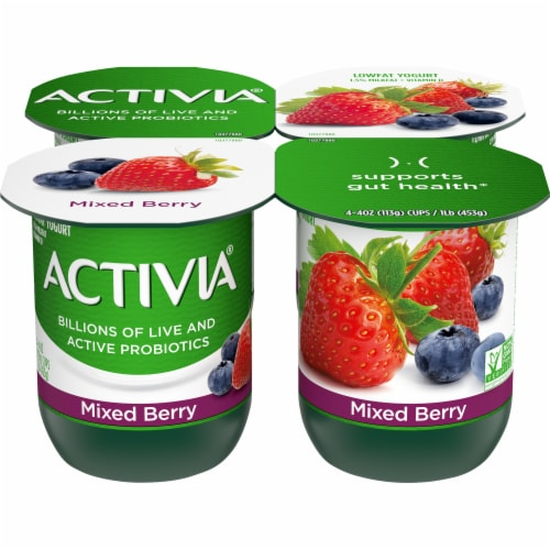 Activia Mixed Berry Lowfat Probiotic Yogurt 4 Count Perspective: front