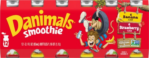 Danimals Strawberry Explosion & Banana Split Yogurt Smoothies Multipack Perspective: front