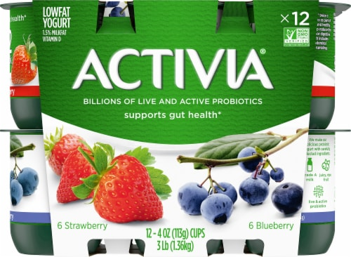 Activia Strawberry & Blueberry Lowfat Probiotic Yogurt Perspective: front