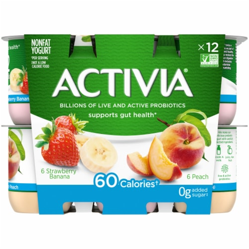 Activia Strawberry Banana & Peach Nonfat Probiotic Yogurt Perspective: front