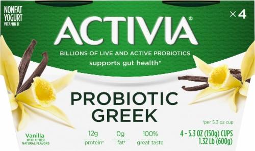 Activia Vanilla Probiotic Greek Nonfat Yogurt 4 Count Perspective: front